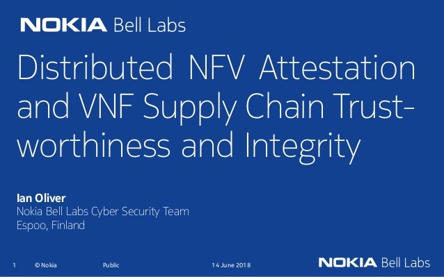 Distributed NFV Attestation and VNF Supply Chain Trust- worthiness and Integrity Ian Oliver Nokia Bell Labs Cyber Security...