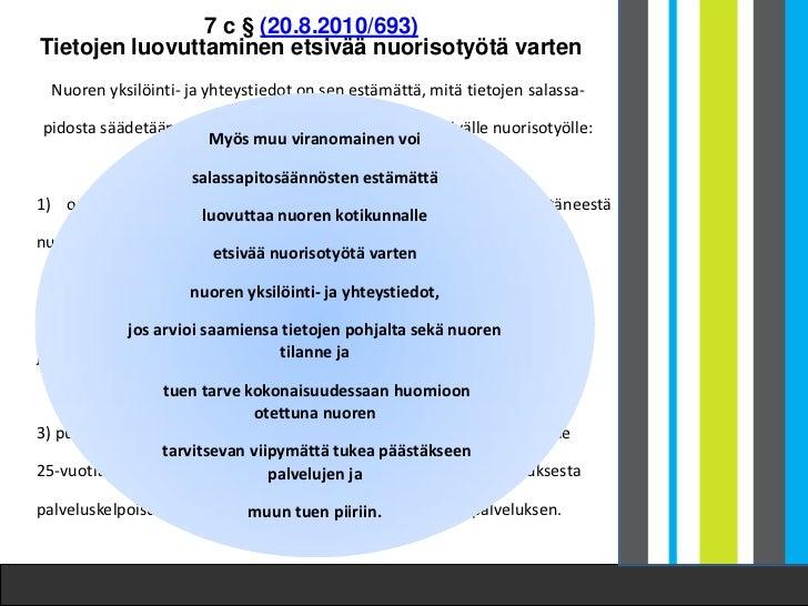7 c § (20.8.2010/693)Tietojen luovuttaminen etsivää nuorisotyötä varten  Nuoren yksilöinti- ja yhteystiedot on sen estämät...