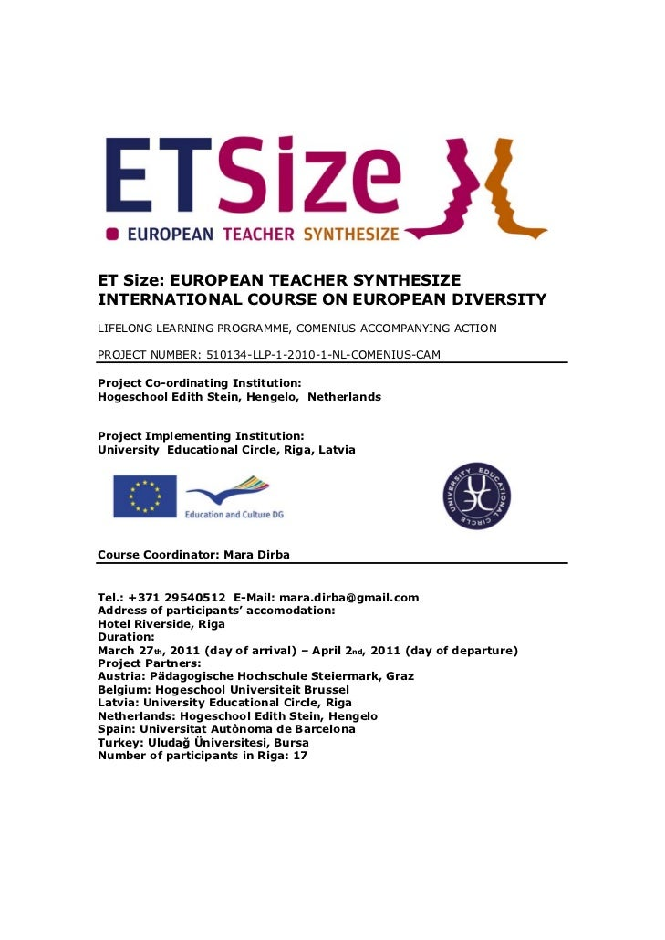 ET Size: EUROPEAN TEACHER SYNTHESIZEINTERNATIONAL COURSE ON EUROPEAN DIVERSITYLIFELONG LEARNING PROGRAMME, COMENIUS ACCOMP...