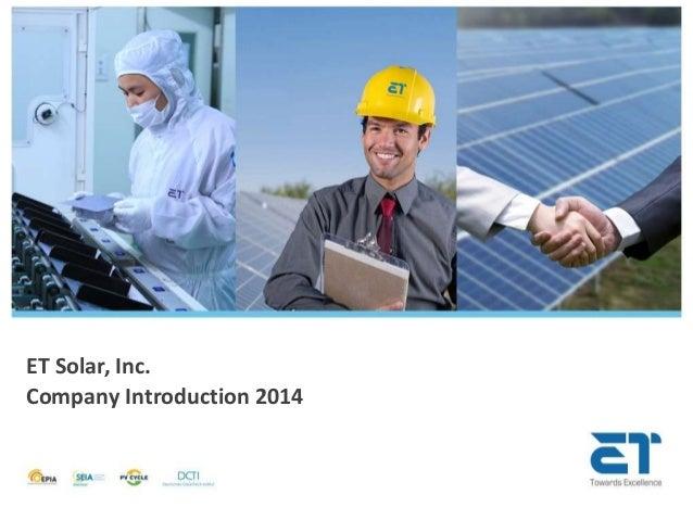 ET Solar, Inc. Company Introduction 2014
