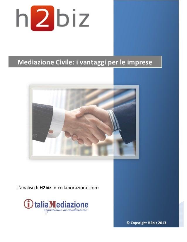 © Copyright H2biz 2013 Mediazione Civile: i vantaggi per le imprese L'analisi di H2biz in collaborazione con: