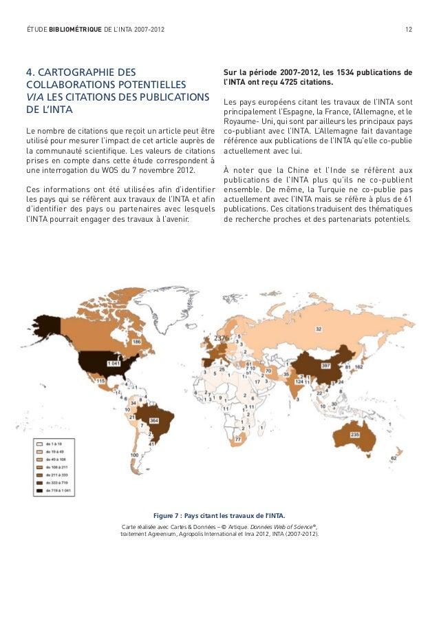 ÉTUDE BIBLIOMÉTRIQUE DE L'INTA 2007-2012  4. CARTOGRAPHIE DES COLLABORATIONS POTENTIELLES VIA LES CITATIONS DES PUBLICATIO...