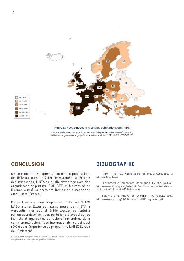 13  Figure 8 : Pays européens citant les publications de l'INTA. Carte réalisée avec Cartes & Données – © Artique. Données...