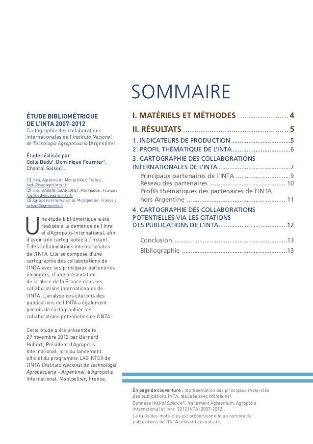 SOMMAIRE ÉTUDE BIBLIOMÉTRIQUE DE L'INTA 2007-2012 Cartographie des collaborations internationales de l'Instituto Nacional ...