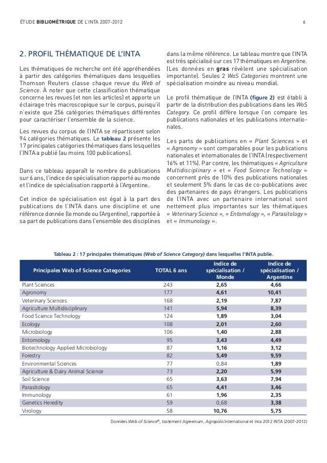 ÉTUDE BIBLIOMÉTRIQUE DE L'INTA 2007-2012  6  2. PROFIL THÉMATIQUE DE L'INTA Les thématiques de recherche ont été appréhend...