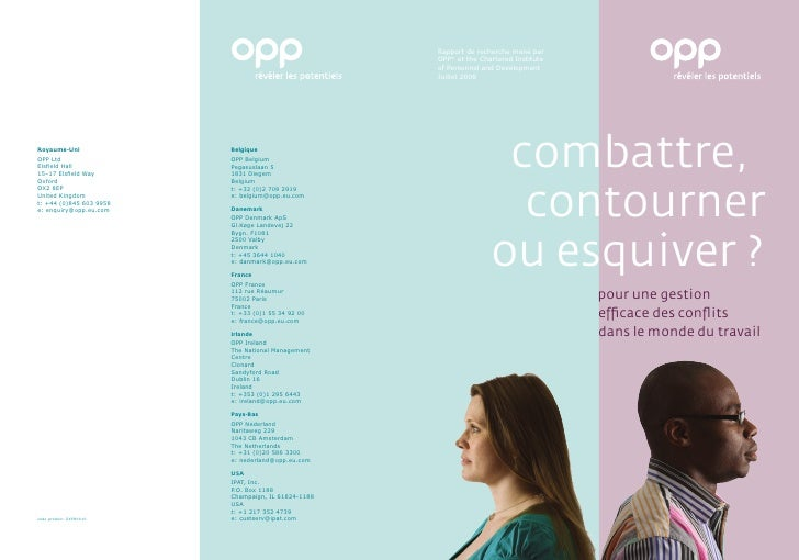 Etude OPP : Conflits au travail