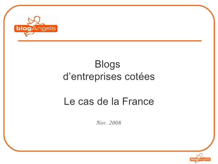 Blogs  d'entreprises cotées Le cas de la France Nov. 2008