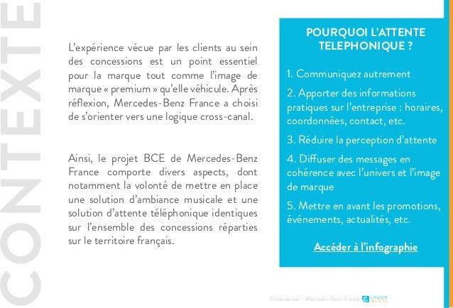 CONTEXTE Etude de cas - Mercedes-Benz France L'expérience vécue par les clients au sein des concessions est un point essen...