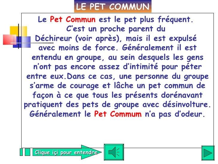 Le  Pet Commun  est le pet plus fréquent.  C'est un proche parent du  Déchireur (voir après), mais il est expulsé  avec mo...