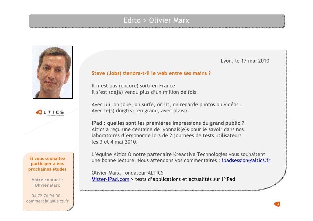 Edito > Olivier Marx                                                                                    Lyon, le 17 mai 20...