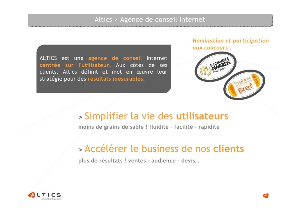 Altics > Agence de conseil Internet                                                             Nomination et participatio...