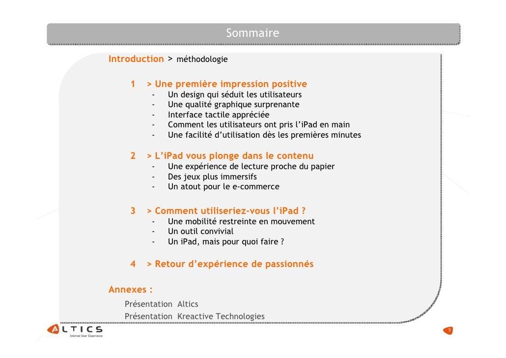 Sommaire  Introduction > méthodologie      1   > Une première impression positive          -   Un design qui séduit les ut...