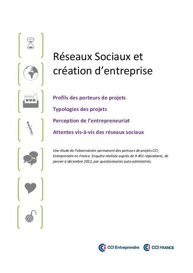 Réseaux Sociaux et création d'entreprise Profils des porteurs de projets Typologies des projets Perception de l'entreprene...