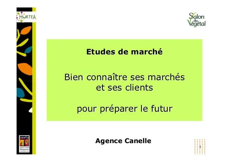 Etudes de marchéBien connaître ses marchés       et ses clients  pour préparer le futur      Agence Canelle               ...