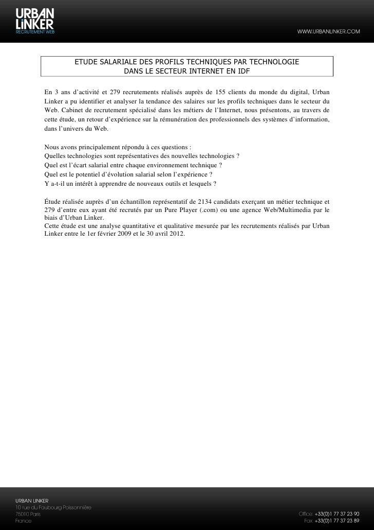 ETUDE SALARIALE DES PROFILS TECHNIQUES PAR TECHNOLOGIE                       DANS LE SECTEUR INTERNET EN IDFEn 3 ans d'act...