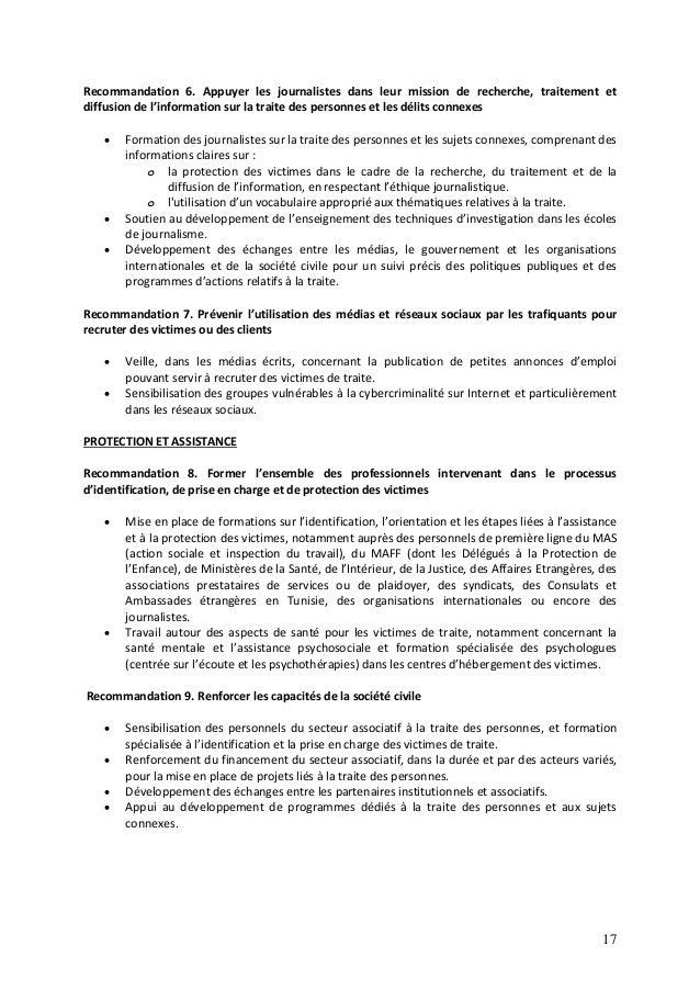 17 Recommandation 6. Appuyer les journalistes dans leur mission de recherche, traitement et diffusion de l'information sur...