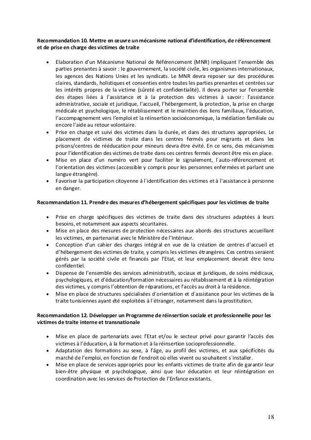 18 Recommandation 10. Mettre en œuvre un mécanisme national d'identification, de référencement et de prise en charge des v...