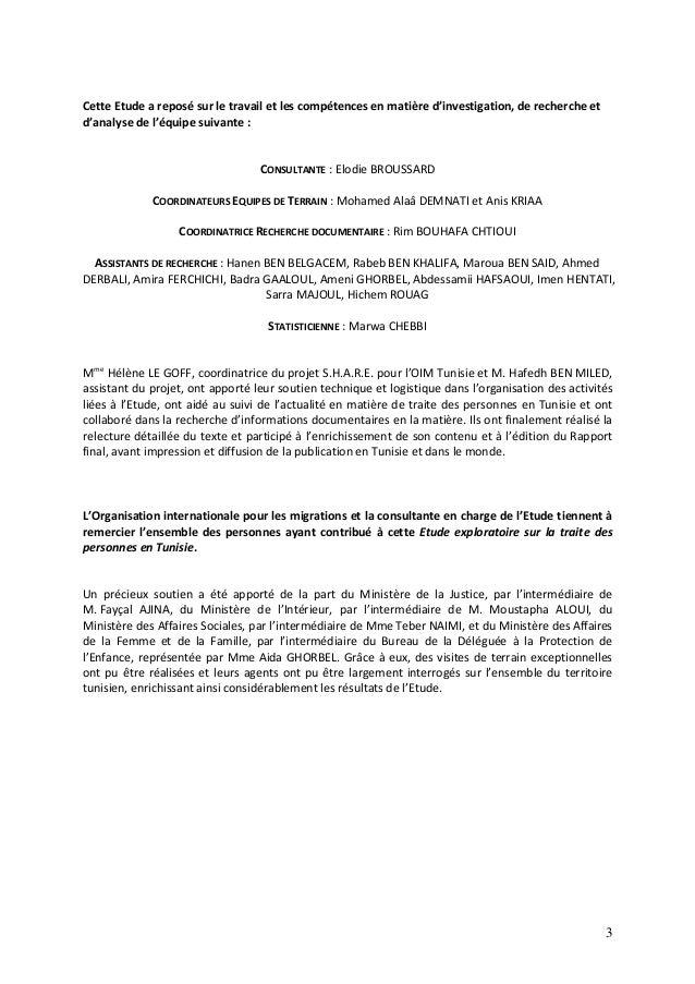 Etude exploratoire sur la traite des personnes en Tunisie Slide 3