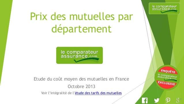Prix des mutuelles par département Etude du coût moyen des mutuelles en France Octobre 2013 Voir l'intégralité de l'étude ...