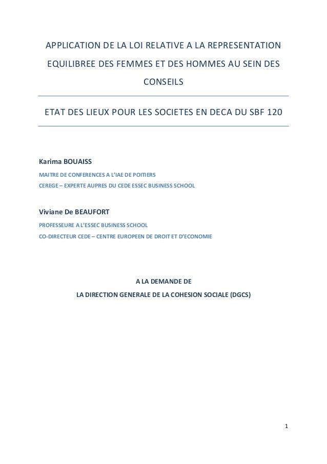 1      APPLICATION  DE  LA  LOI  RELATIVE  A  LA  REPRESENTATION   EQUILIBREE  DES  FEMMES  ET ...