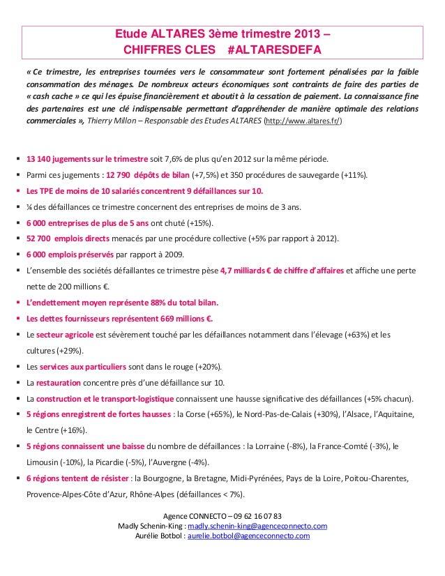 Etude ALTARES 3ème trimestre 2013 – CHIFFRES CLES #ALTARESDEFA « Ce trimestre, les entreprises tournées vers le consommate...
