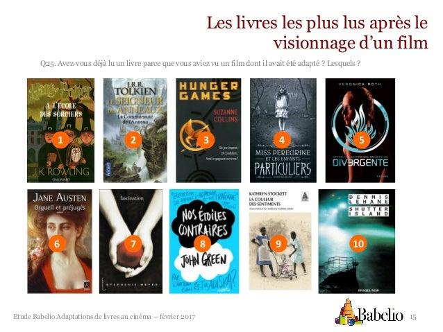 Etude Babelio Les Adaptations De Livres Au Cinema