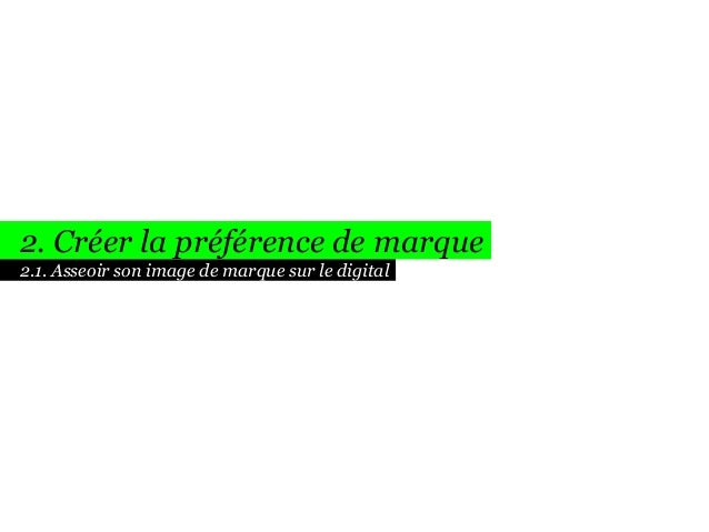 2. Créer la préférence de marque 2.1. Asseoir son image de marque sur le digital
