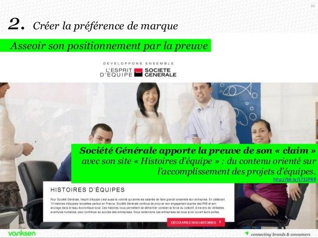 22  2.  Créer la préférence de marque  Asseoir son positionnement par la preuve  Société Générale apporte la preuve de son...