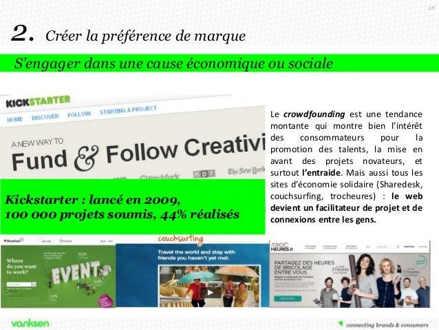 28  2.  Créer la préférence de marque  S'engager dans une cause économique ou sociale  Kickstarter : lancé en 2009, 100 00...
