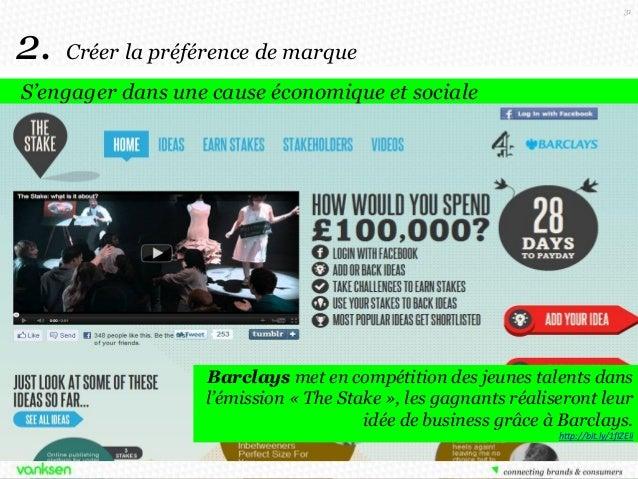 31  2.  Créer la préférence de marque  S'engager dans une cause économique et sociale  American Express réalise en pleine ...