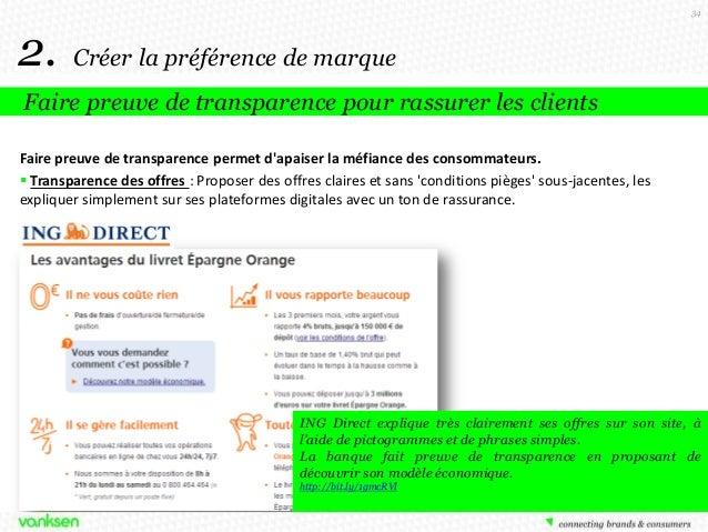 34  2.  Créer la préférence de marque  Faire preuve de transparence pour rassurer les clients Faire preuve de transparence...