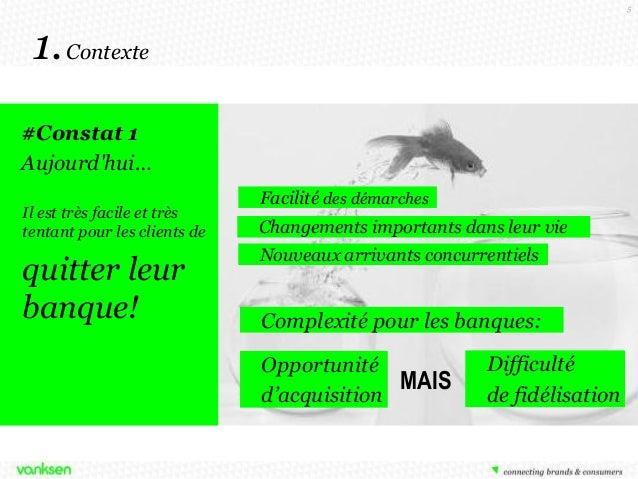5  1. Contexte #Constat 1 Aujourd'hui… Il est très facile et très tentant pour les clients de  quitter leur banque!  Facil...