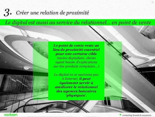 73  3.  Créer une relation de proximité  Le digital est aussi au service du relationnel… en point de vente  Le point de ve...