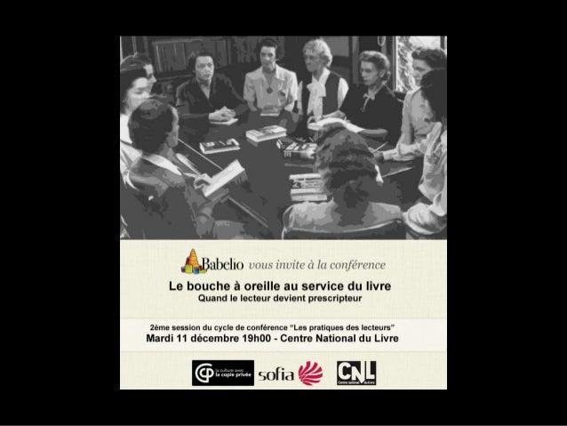 Le bouche àoreille et le livre  Etude de lectorat         Décembre 2012
