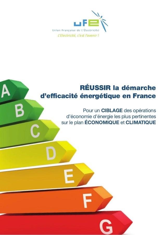 RÉUSSIR la démarche d'efficacité énergétique en France Pour un CIBLAGE des opérations d'économie d'énergie les plus pertin...