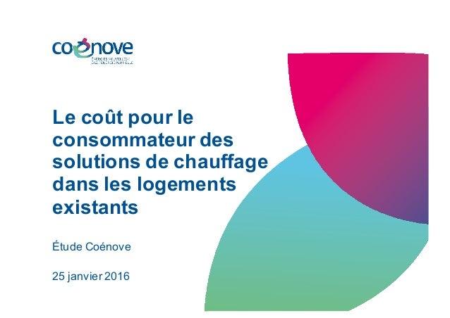 Le coût pour le consommateur des solutions de chauffage dans les logements existants Étude Coénove 25 janvier 2016