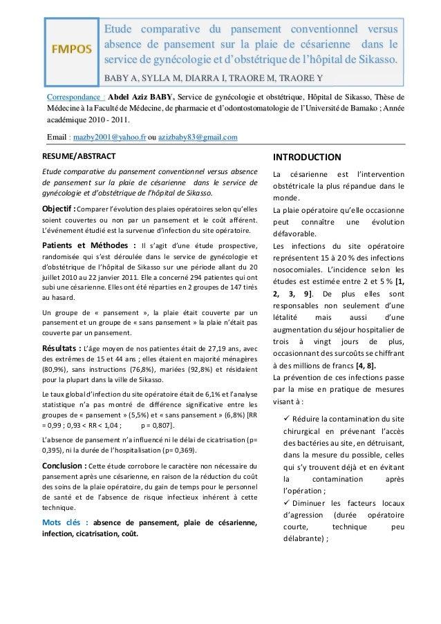 FMPOS Correspondance : Abdel Aziz BABY, Service de gynécologie et obstétrique, Hôpital de Sikasso, Thèse de Médecine à la ...