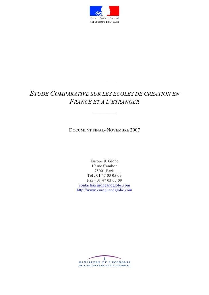 Liberté   Égalité   Fraternité                      R ÉPUBLIQUE FRANÇAISE                            _______  ETUDE COMPAR...