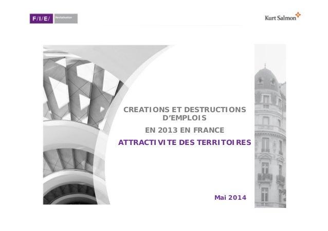 F/I/E/ - Kurt Salmon Créations et destructions d'emplois en France en 2013 Attractivité des territoires CREATIONS ET DESTR...