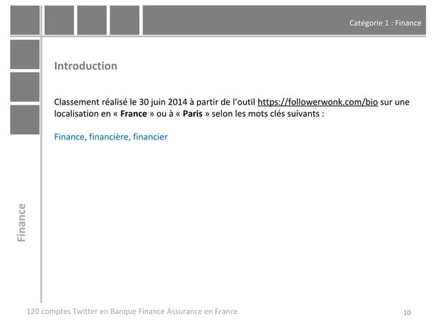 Catégorie 1 : Finance 10 Introduction Classement réalisé le 30 juin 2014 à partir de l'outil https://followerwonk.com/bio ...