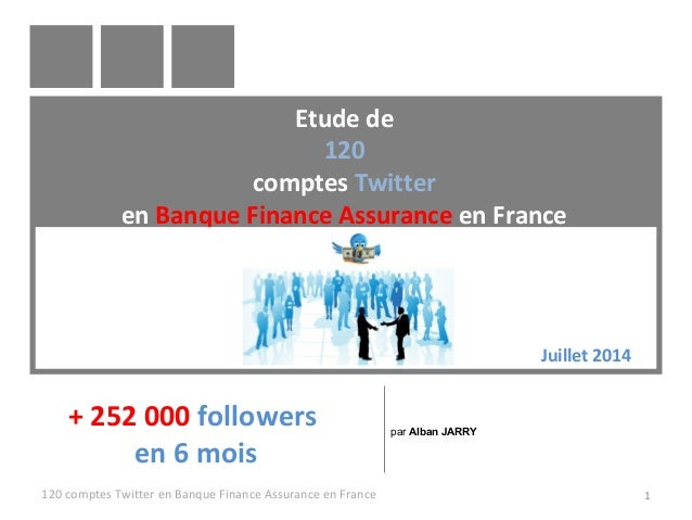 Etude de 120 comptes Twitter en Banque Finance Assurance en France 120 comptes Twitter en Banque Finance Assurance en Fran...