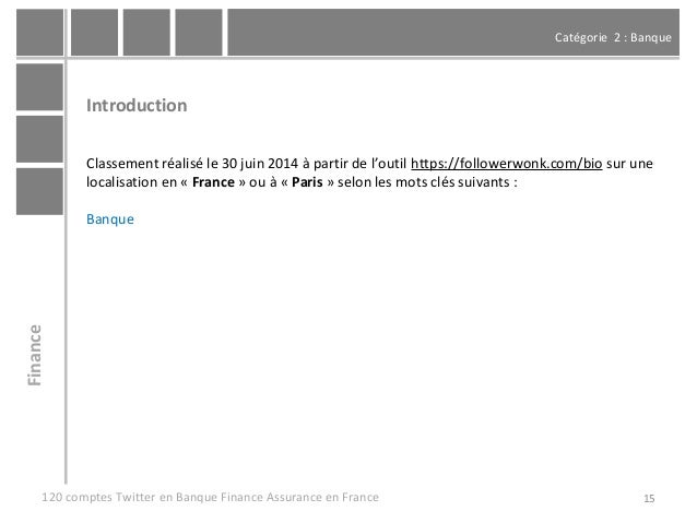 Catégorie 2 : Banque 15 Introduction Classement réalisé le 30 juin 2014 à partir de l'outil https://followerwonk.com/bio s...