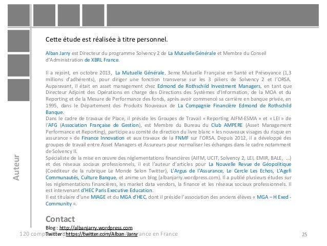 25120 comptes Twitter en Banque Finance Assurance en France Cette étude est réalisée à titre personnel. Alban Jarry est Di...