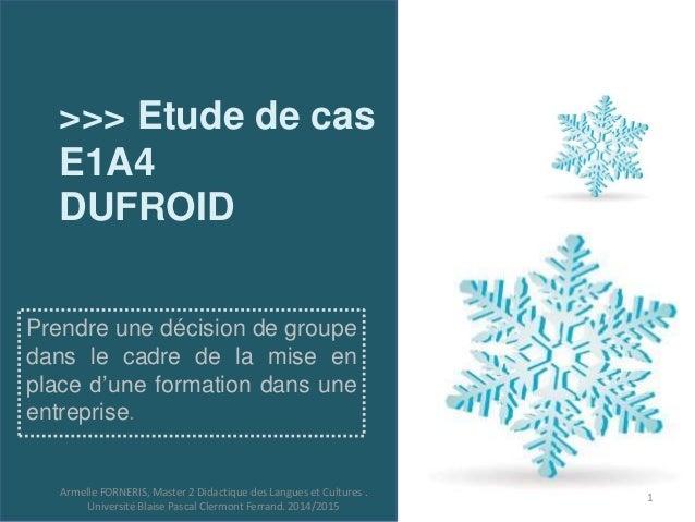 >>> Etude de cas  E1A4  DUFROID  Prendre une décision de groupe  dans le cadre de la mise en  place d'une formation dans u...
