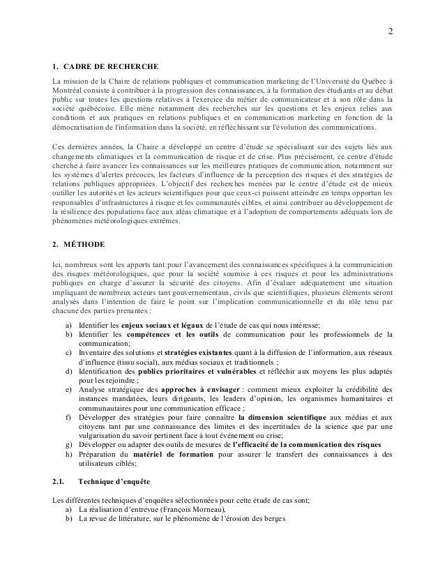 2 1. CADRE DE RECHERCHE La mission de la Chaire de relations publiques et communication marketing de l'Université du Québe...