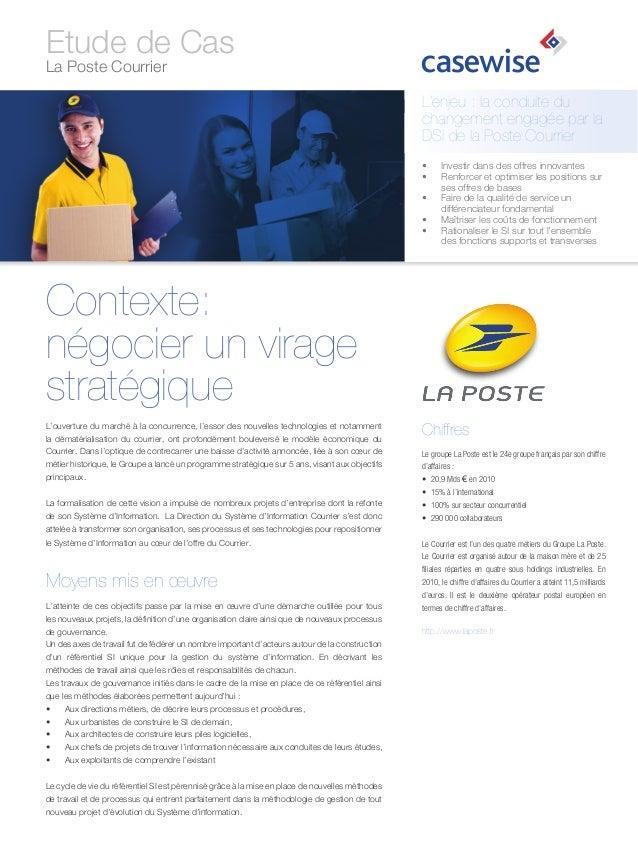Etude de Cas La Poste Courrier  L'enjeu : la conduite du changement engagée par la DSI de la Poste Courrier • • • • •...