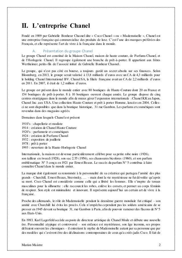 Analyse concurrentielle du secteur des cosm tiques chanel n 5 - Entreprise pret a porter qui recrute en alternance ...