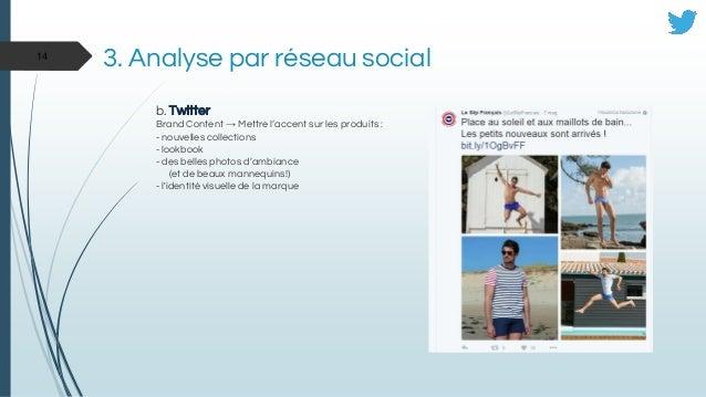 3. Analyse par réseau social b. Twitter Brand Content → Mettre l'accent sur les produits : - nouvelles collections - lookb...