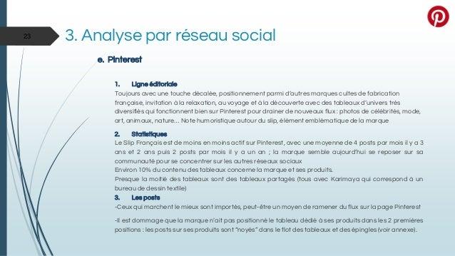 3. Analyse par réseau social e. Pinterest 1. Ligne éditoriale Toujours avec une touche décalée, positionnement parmi d'aut...