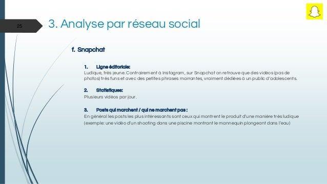 3. Analyse par réseau social f. Snapchat 1. Ligne éditoriale: Ludique, très jeune. Contrairement à Instagram, sur Snapchat...